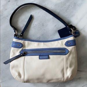 COACH nautical white and blue purse